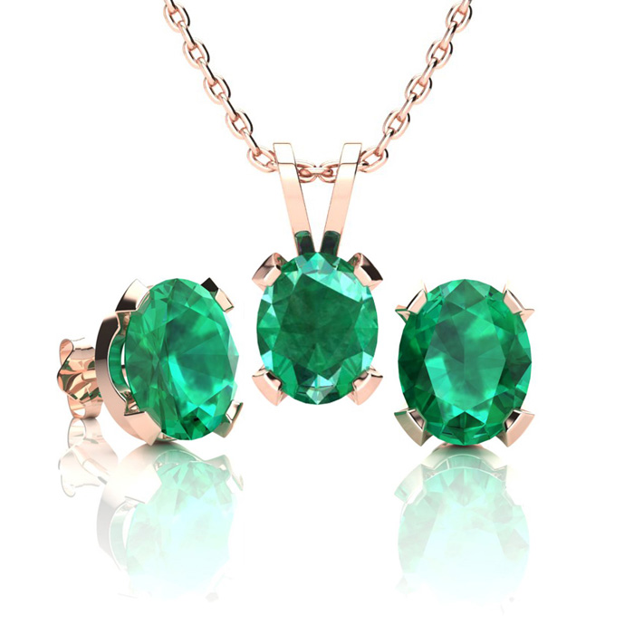 2 1/2 Carat Oval Shape Emerald Necklace and Earring Set In 14K Rose Gold Ove..