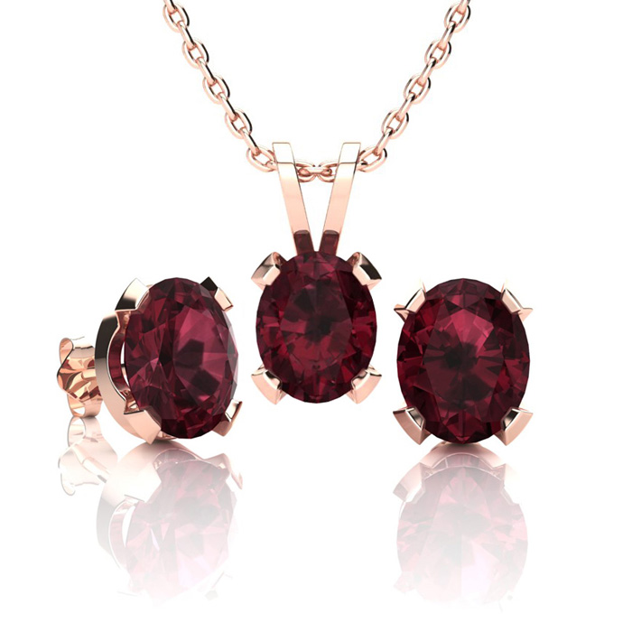 3 Carat Oval Shape Garnet Necklace and Earring Set In 14K Rose Gold Over Ste..