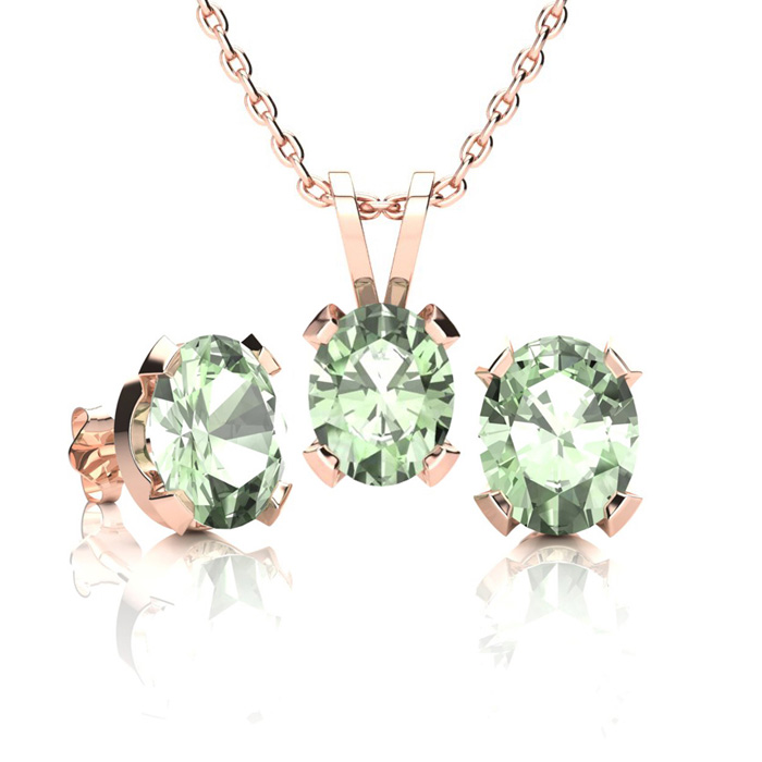 2 Carat Oval Shape Green Amethyst Necklace and Earring Set In 14K Rose Gold ..