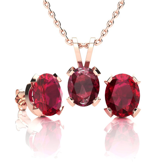 3 Carat Oval Shape Ruby Necklace And Earring Set In 14k Rose Gold Over Sterling Silver