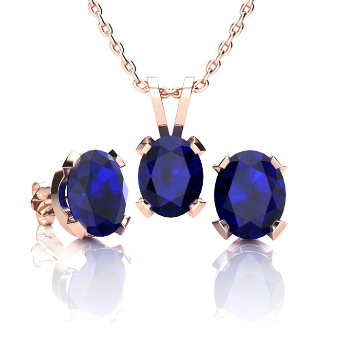 3 Carat Oval Shape Sapphire Necklace And Earring Set In 14k Rose Gold Over Sterling Silver