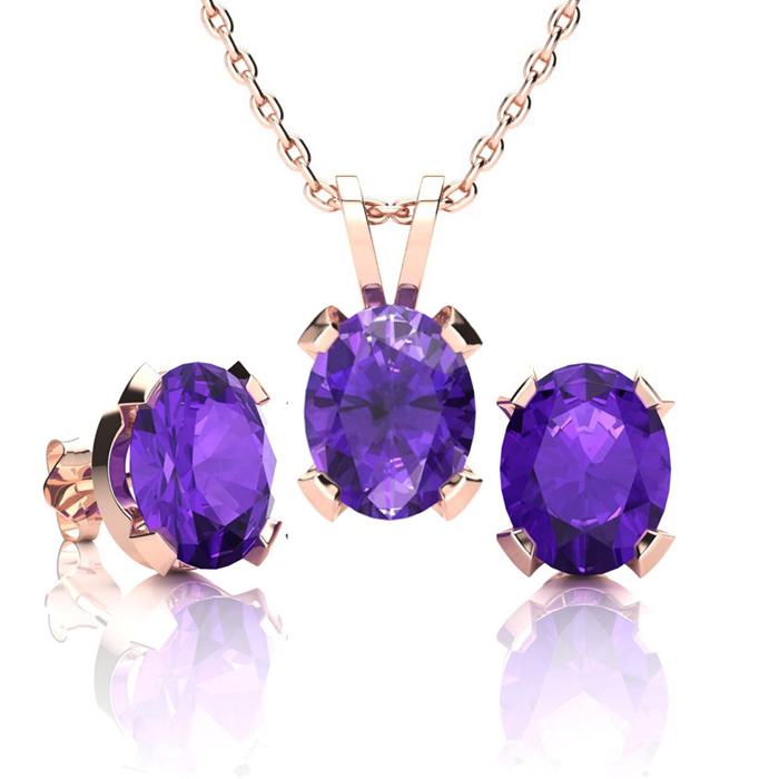 3 Carat Oval Shape Amethyst Necklace and Earring Set In 14K Rose Gold Over S..