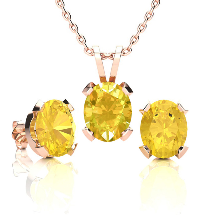 3 Carat Oval Shape Citrine Necklace And Earring Set In 14k Rose Gold Over Sterling Silver