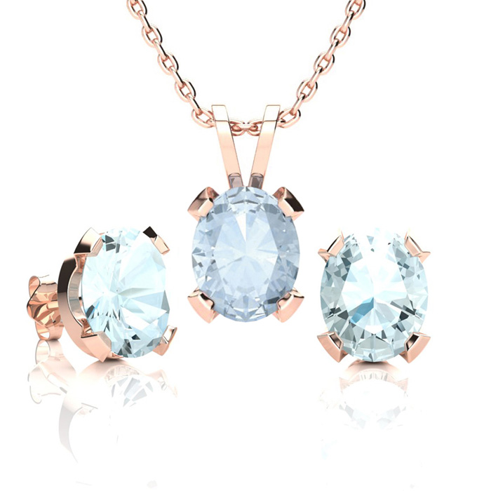 3 1/2 Carat Oval Shape Aquamarine Necklace and Earring Set In 14K Rose Gold ..