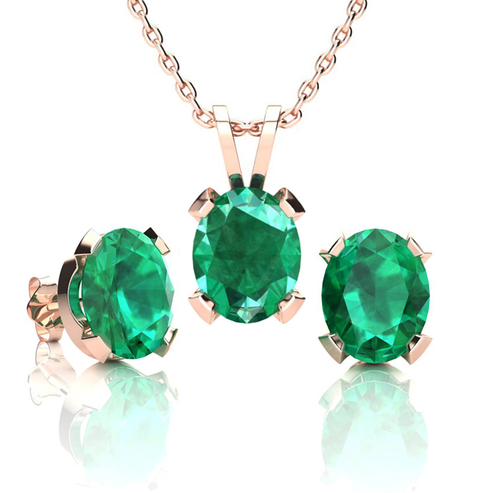 3 1/2 Carat Oval Shape Emerald Necklace and Earring Set In 14K Rose Gold Ove..