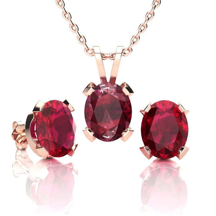 4 1/2 Carat Oval Shape Ruby Necklace And Earring Set In 14k Rose Gold Over Sterling Silver