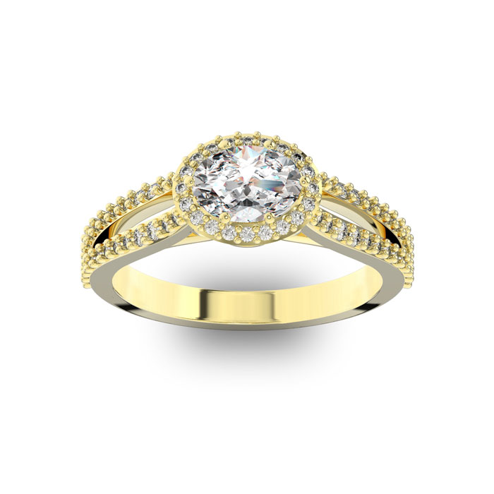 1 Carat Oval Shape Antique Halo Diamond Engagement Ring In 14 Karat Yellow Gold