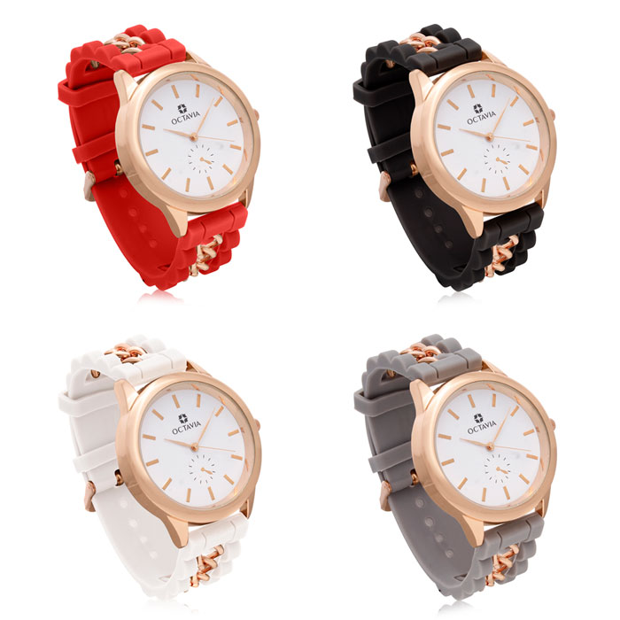 Set of 4 Octavia Ladies Magnifica Watches in White, Red, Black, and Gray