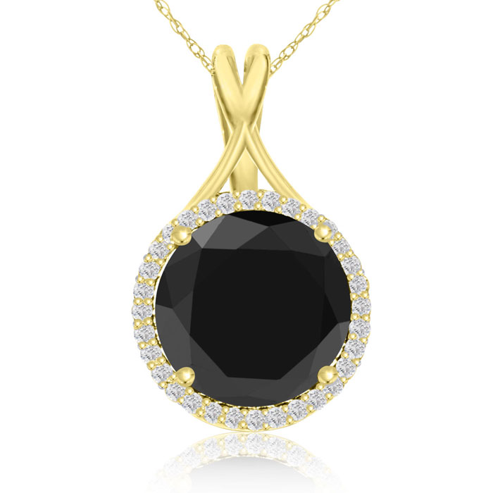 5 3/4 Carat Black and White Diamond Halo Necklace In 14 Karat Yellow Gold