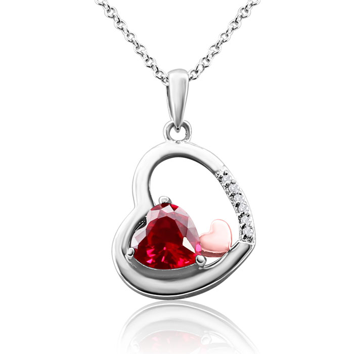 1 ½ Carat Heart-Shaped Ruby and Diamond Necklace in Sterling Silver