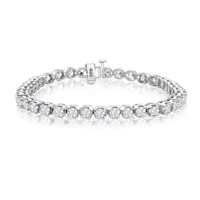 14k White Gold 6 Carat Diamond Tennis Bracelet, 7 Inches