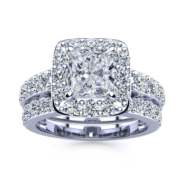 3 1/2 Carat Radiant Shape Diamond Bridal Set, Including 1 1/2 Carat Center Diamond In 14K White Gold