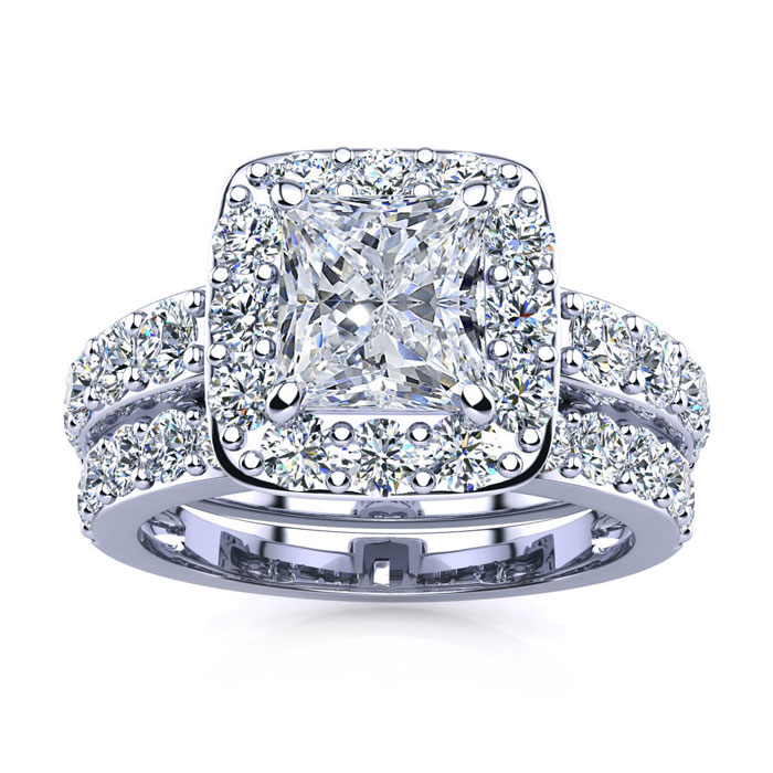 4 1/2 Carat Radiant Shape Diamond Bridal Set, Including 2 Carat Center Diamond In 14K White Gold
