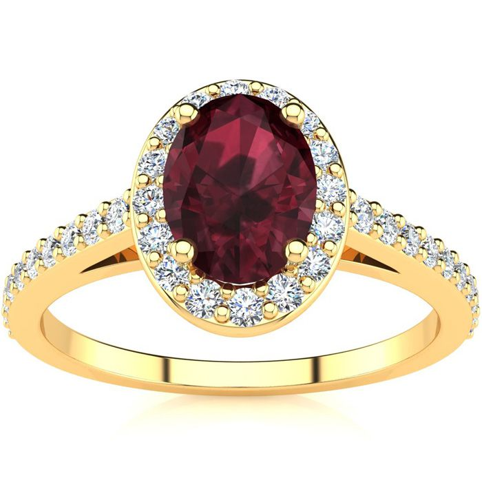 1 1/3 Carat Oval Shape Garnet And Halo Diamond Ring In 14 Karat Yellow Gold