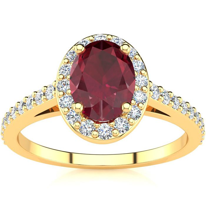 1 1/4 Carat Oval Shape Ruby And Halo Diamond Ring In 14 Karat Yellow Gold