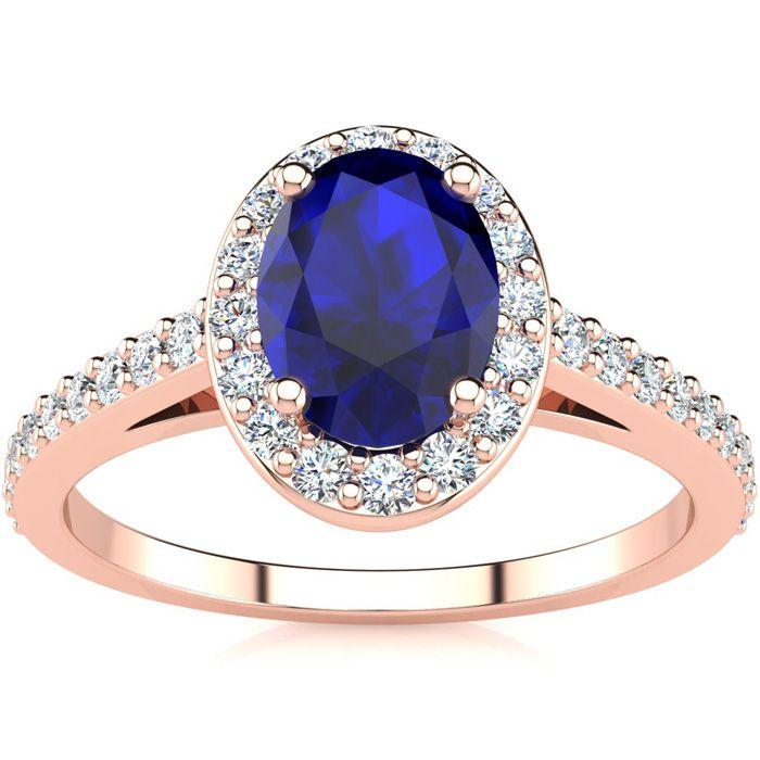1 1/3 Carat Oval Shape Sapphire And Halo Diamond Ring In 14 Karat Rose Gold