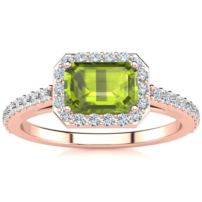 1 1/2 Carat Emerald Shape Peridot And Halo Diamond Ring In 14 Karat Rose Gold