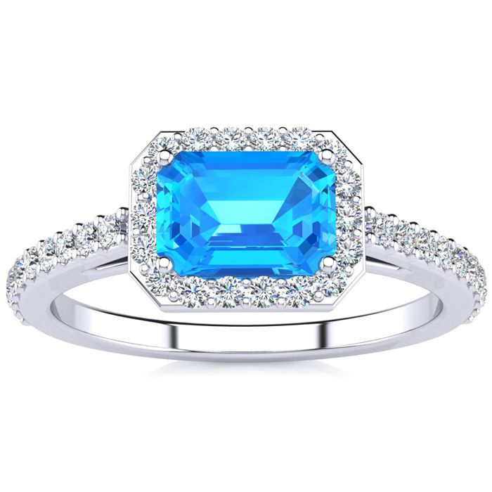 14k White Gold Created Emerald Ring Radiant Cut 1.25 Carats