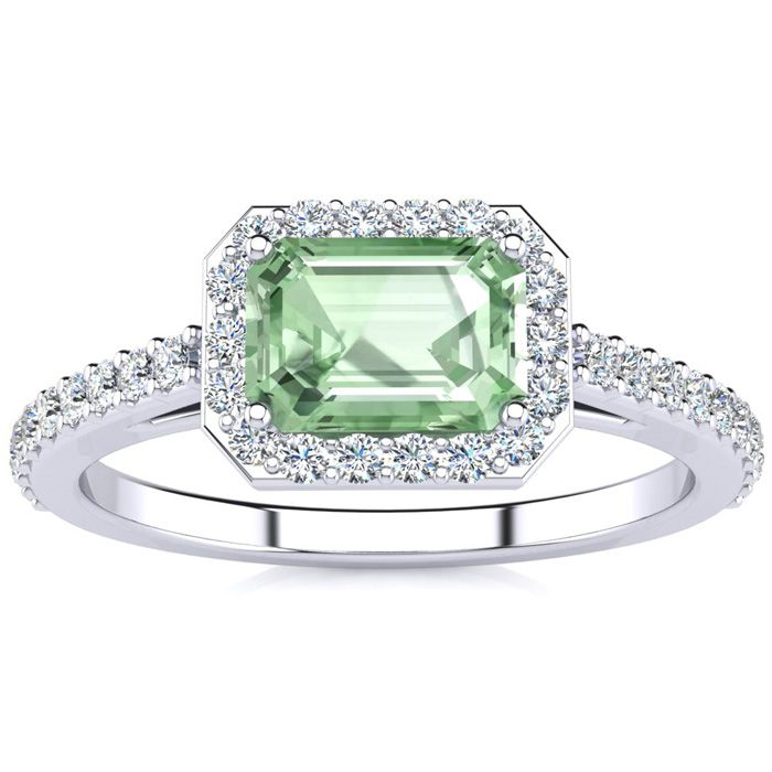 1 1/4 Carat Emerald Shape Green Amethyst And Halo Diamond Ring In 14 Karat White Gold