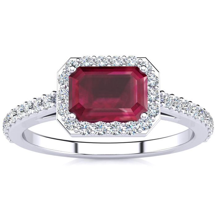 1 1/3 Carat Emerald Shape Ruby And Halo Diamond Ring In 14 Karat White Gold
