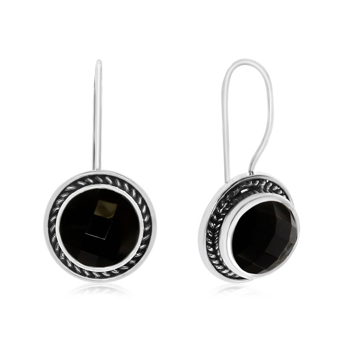 6 Carat Black Onyx Earrings In Sterling Silver With Rope Detail