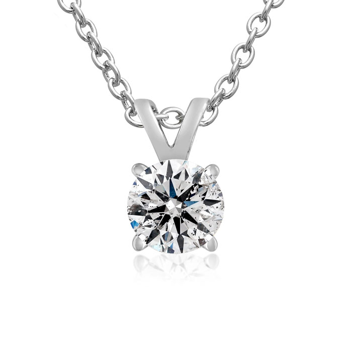 Nearly 1/2ct Diamond Solitaire Pendant in 14k White Gold