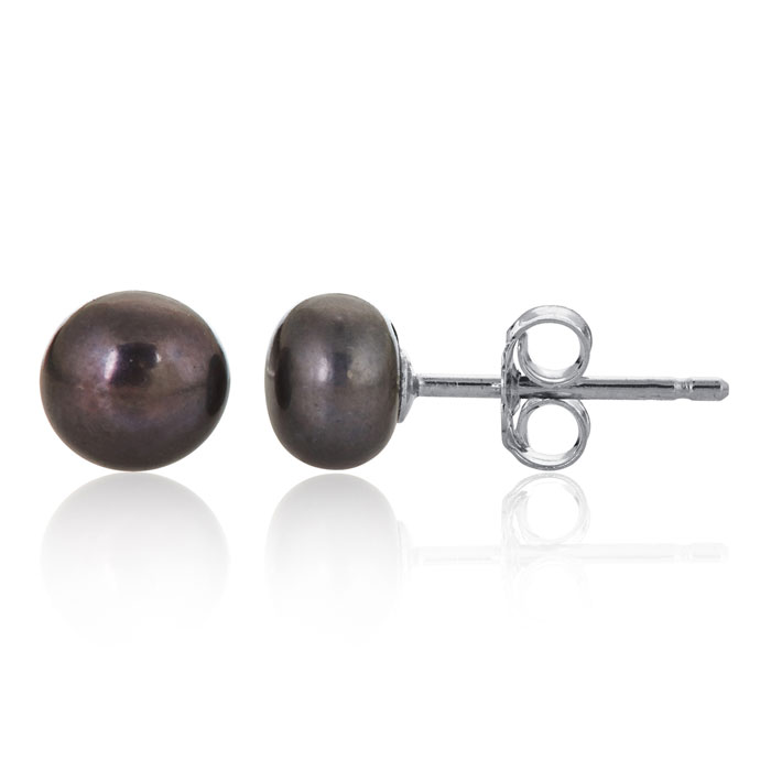 Gray Freshwater Pearl Earrings In Sterling Silver