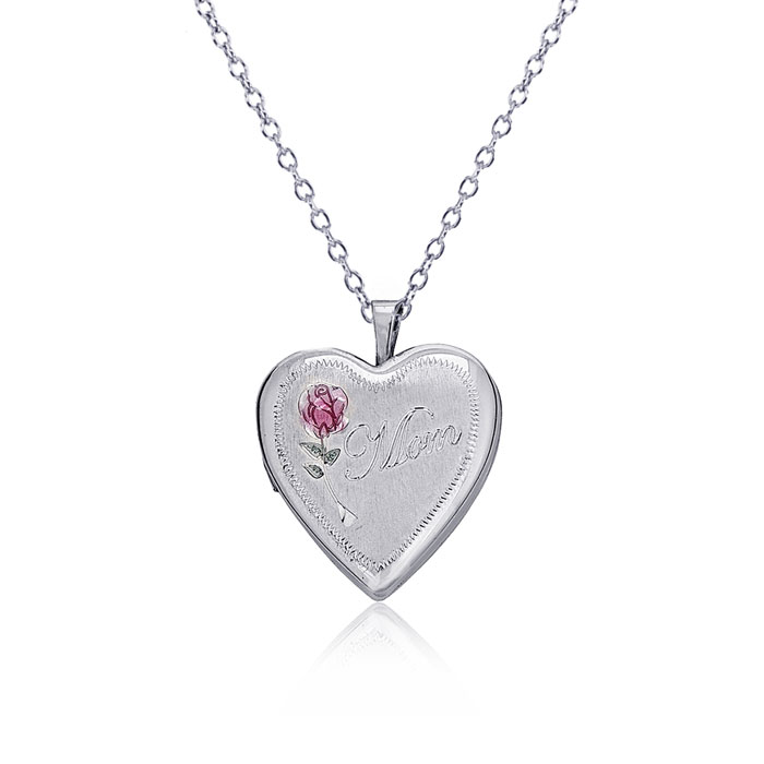 "Sterling Silver ""Mom"" and Rose Heart Locket Necklace, 18 Inches"