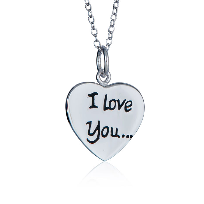 "Sterling Silver ""i Love You"" Heart Necklace, 18 Inches"