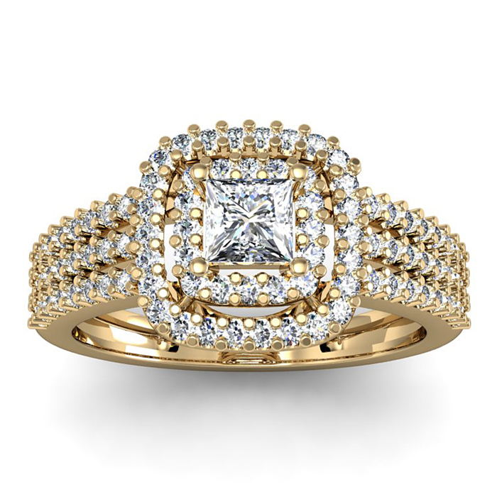 1 Carat Double Halo Massive Looking Princess Diamond Engagement Ring In 14K ..