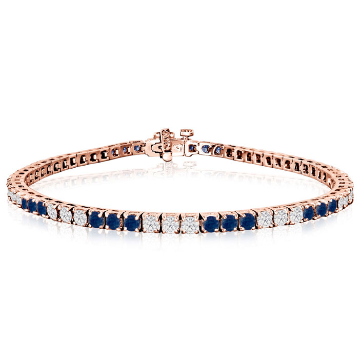 Fine Quality 5 Carat Sapphire And Diamond Bracelet In 14k Rose Gold