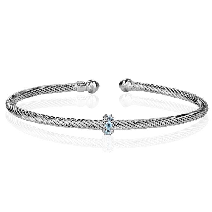 Sterling Silver 1/4ct Blue Topaz Bangle Bracelet