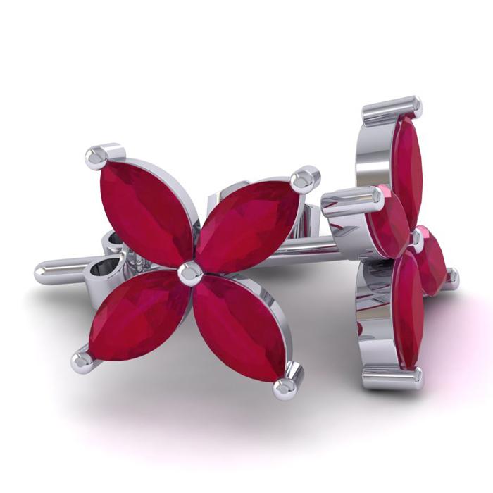 18 Karat White Gold 2 3/4 Carat Ruby Cluster Earrings