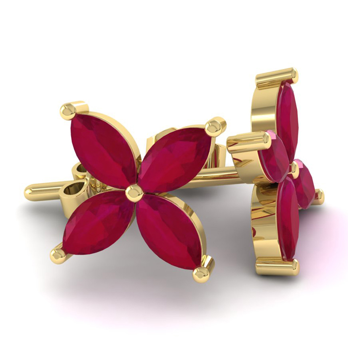18 Karat Yellow Gold 2 3/4 Carat Ruby Cluster Earrings