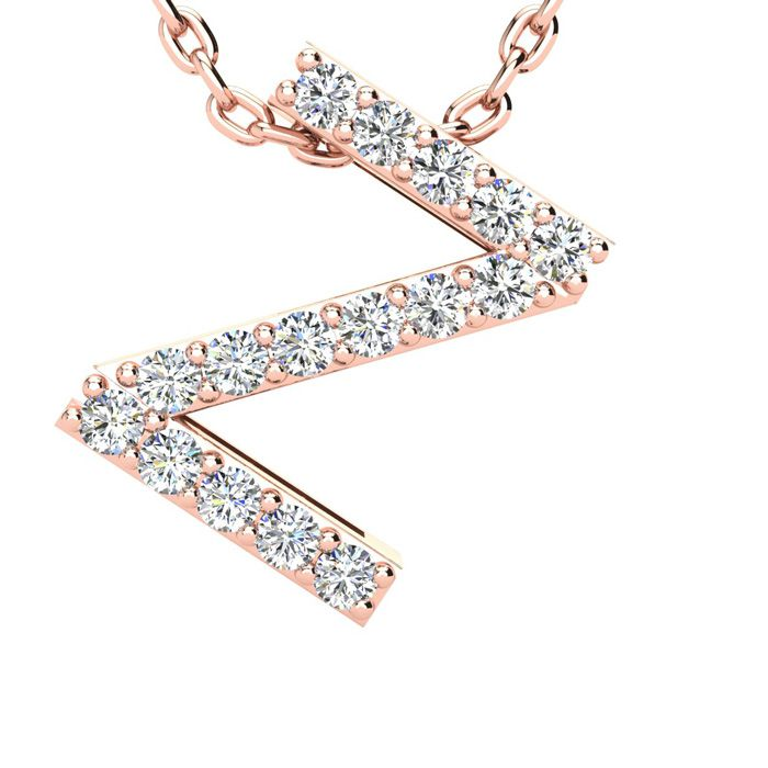 Z Initial Necklace In 14k Rose Gold With 16 Diamonds
