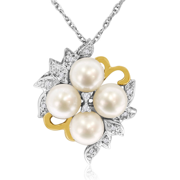 Diamond And Pearl Necklace In Sterling Silver And 14k Gold + Free Matching Earrings!