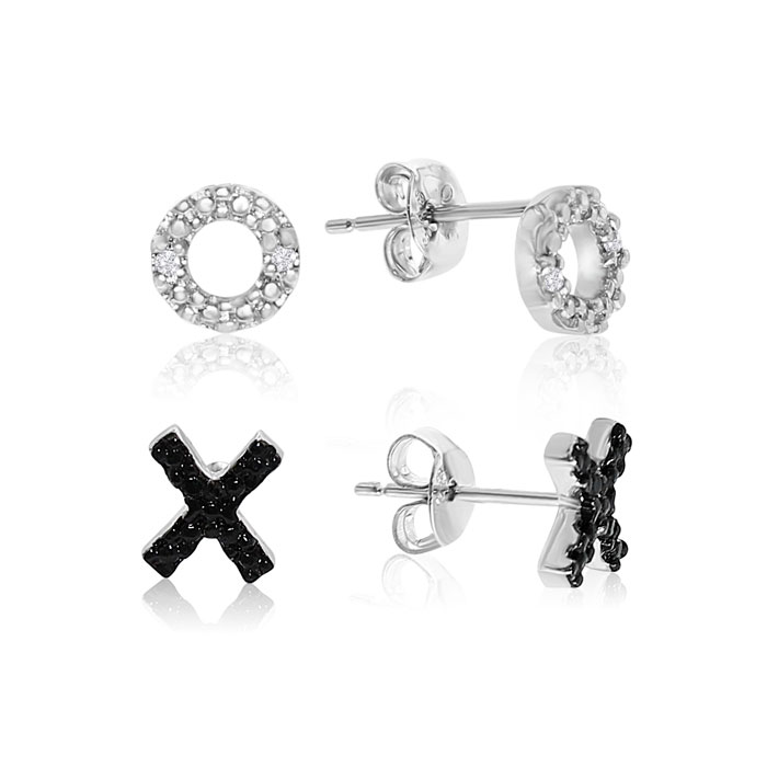 Two Pairs of Black and White Diamond XO Earrings In Sterling Silver