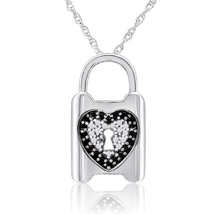 1/2 Carat Black and White Diamond Heart Lock Necklace In Sterling Silver, 18..