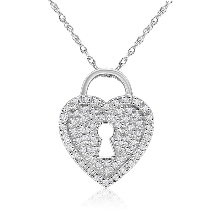 14K White Gold 1/5ct Diamond Heart Necklace With Keyhole, 18 Inches