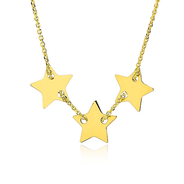 Adjustable Three Star Charm Necklace In 14K Yellow Gold, 16-18 Inches