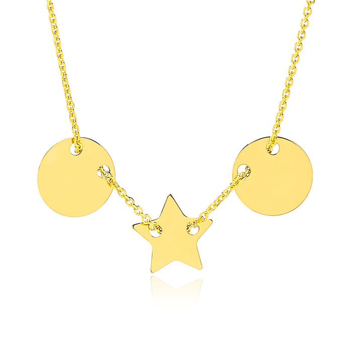 Adjustable Star And Disk Charm Necklace In 14K Yellow Gold, 16-18 Inches