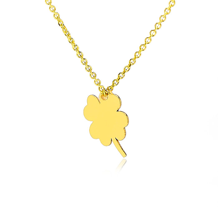 Adjustable Luck Of The Irish Necklace In 14K Yellow Gold, 16-18 Inches