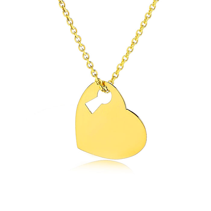 Adjustable Key To My Heart Necklace In 14K Yellow Gold, 16-18 Inches