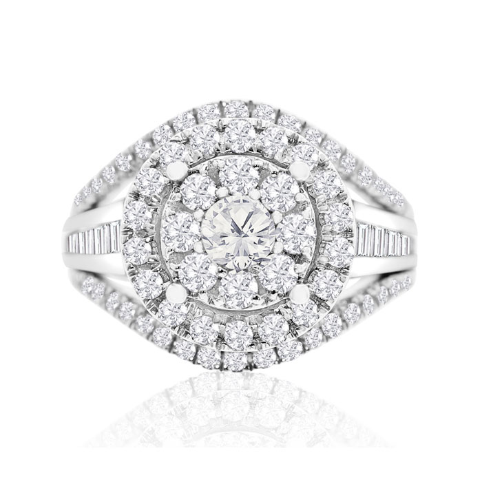 OH YEAH BABY!  MASSIVE RING AT A RIDICULOUSLY LOW PRICE! YOU WON'T BELIEVE THE DEAL YOU ARE GETTING!! 1 7/8 Carat Fancy Halo Diamond Engagement Ring In 14K White Gold (G-H, I2-I3)