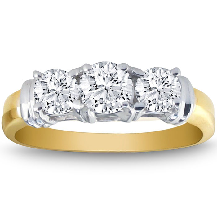 1/4ct Three Diamond Ring in 14k Two Tone Gold with Fancy Trim thumbnail