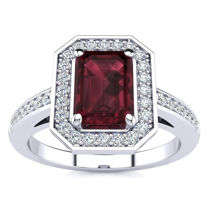 1 1/2 Carat Emerald Shape Garnet And Halo Diamond Ring In 14 Karat White Gold