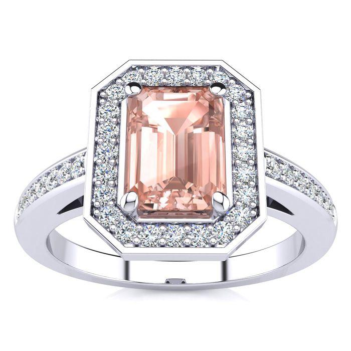 1 Carat Emerald Shape Morganite And Halo Diamond Ring In 14 Karat White Gold