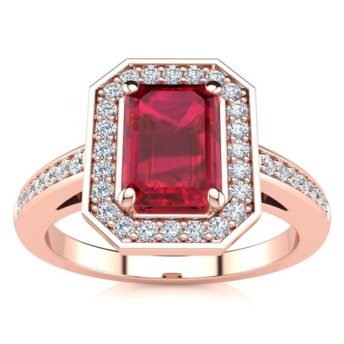 1 1/4 Carat Emerald Shape Ruby And Halo Diamond Ring In 14 Karat Rose Gold