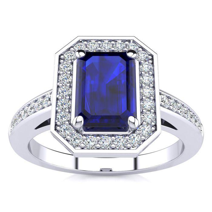 1 1/3 Carat Emerald Shape Sapphire And Halo Diamond Ring In 14 Karat White Gold