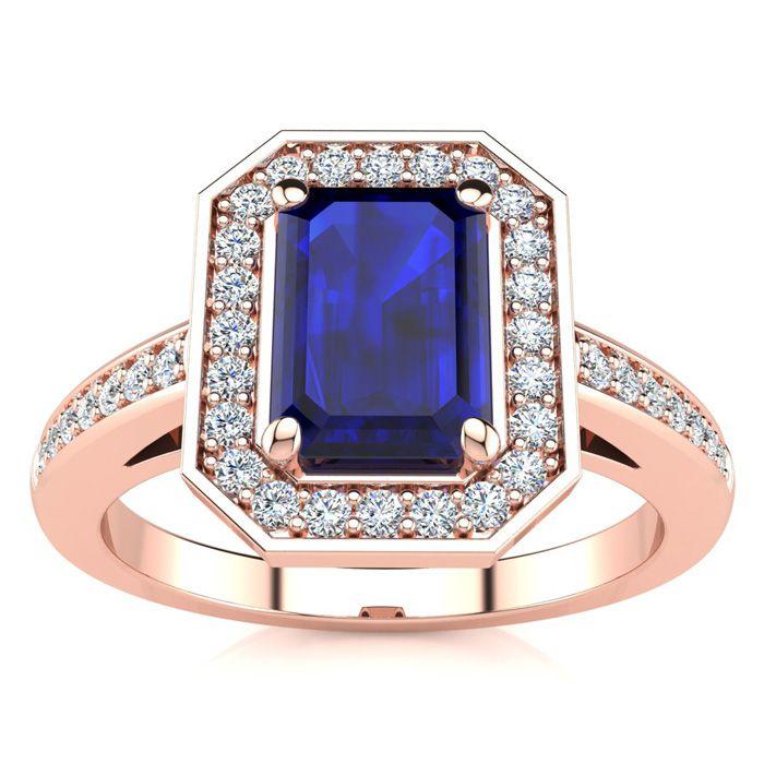1 1/3 Carat Emerald Shape Sapphire And Halo Diamond Ring In 14 Karat Rose Gold